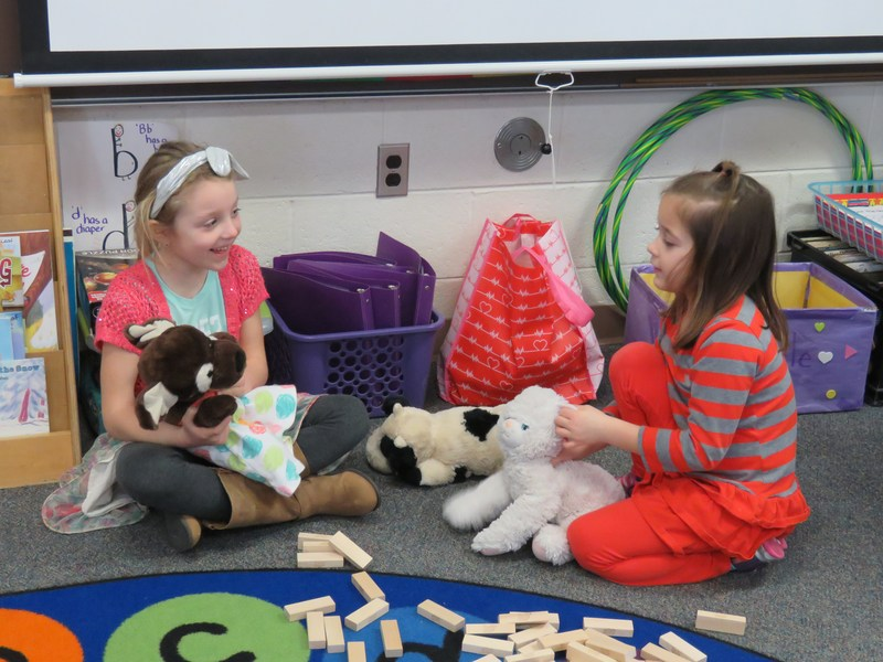 Students in Cathy Leaf's kindergarten class enjoy Global School Play Day.