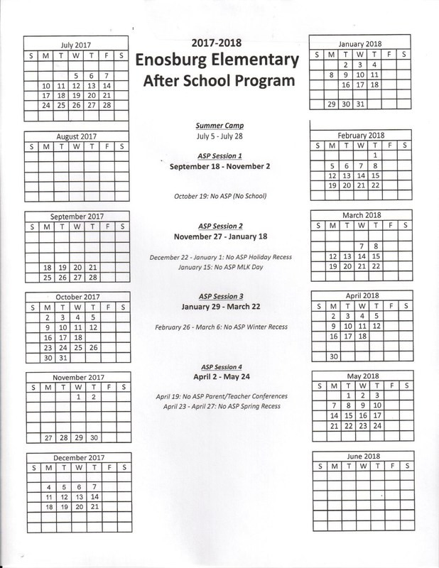 After School Program Calender of Sessions