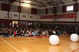Students at Manor Middle School sitting.