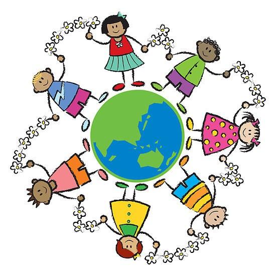 Multi cultural children link hands around planet