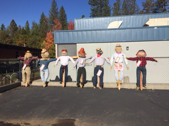 Scarecrows built by Ms. Bairs Class