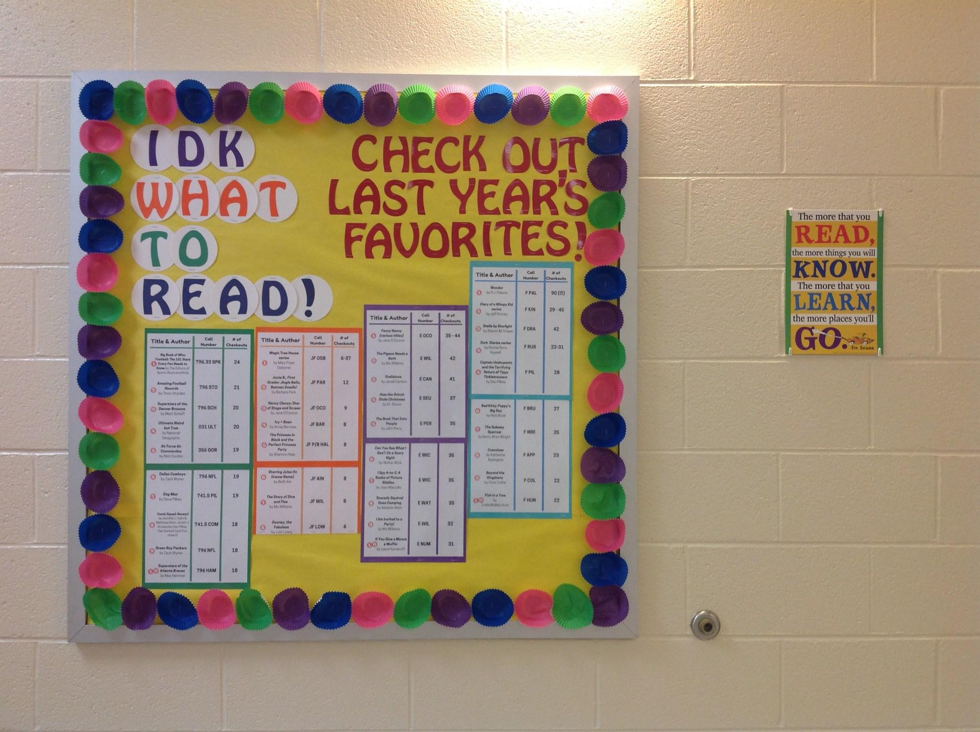 IDK What to Read bulletin board