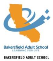 Bakersfield Adult School logo.