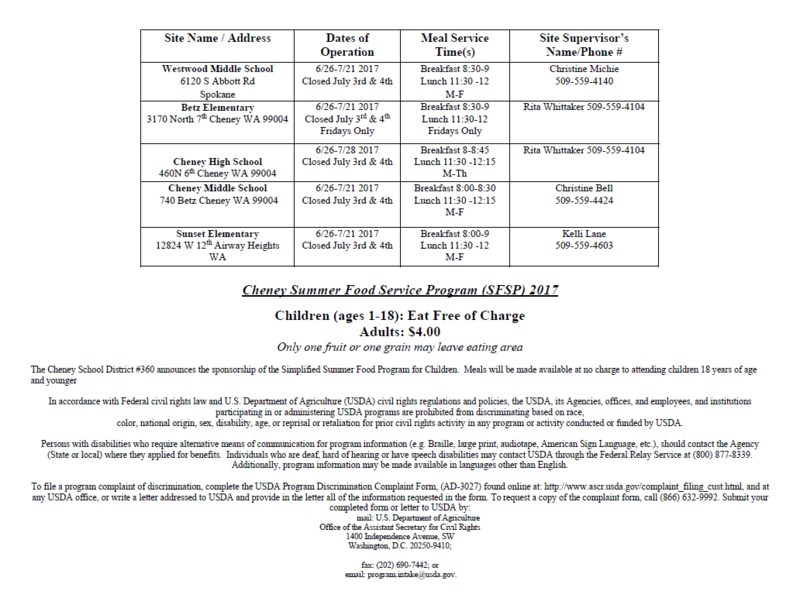 Cheney Summer Food Service Program Thumbnail Image