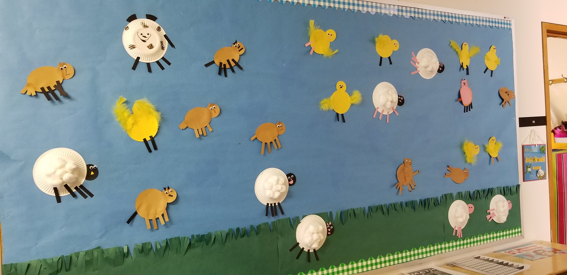Our farm animals we made for the bulletin board.