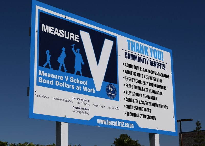 A Measure V school bond construction sign