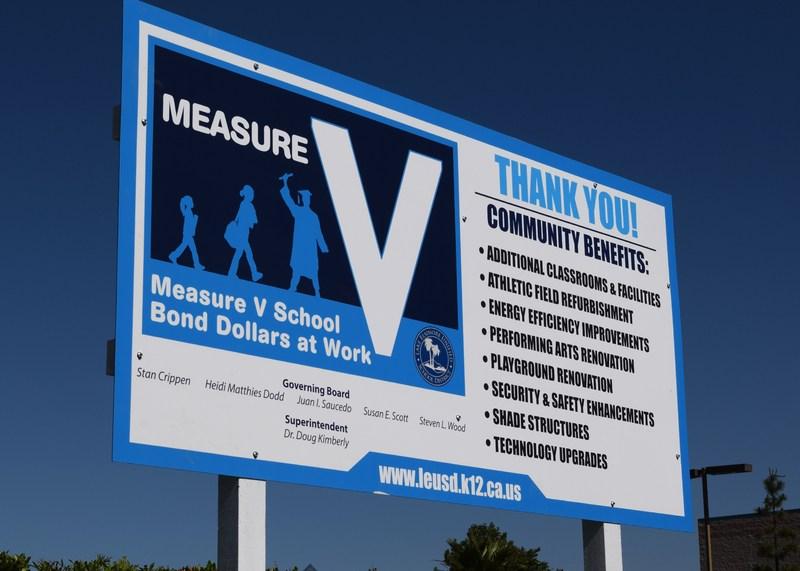 A Measure V school bond construction sign