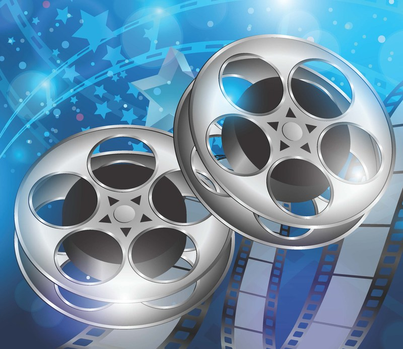 Film reels with blue background