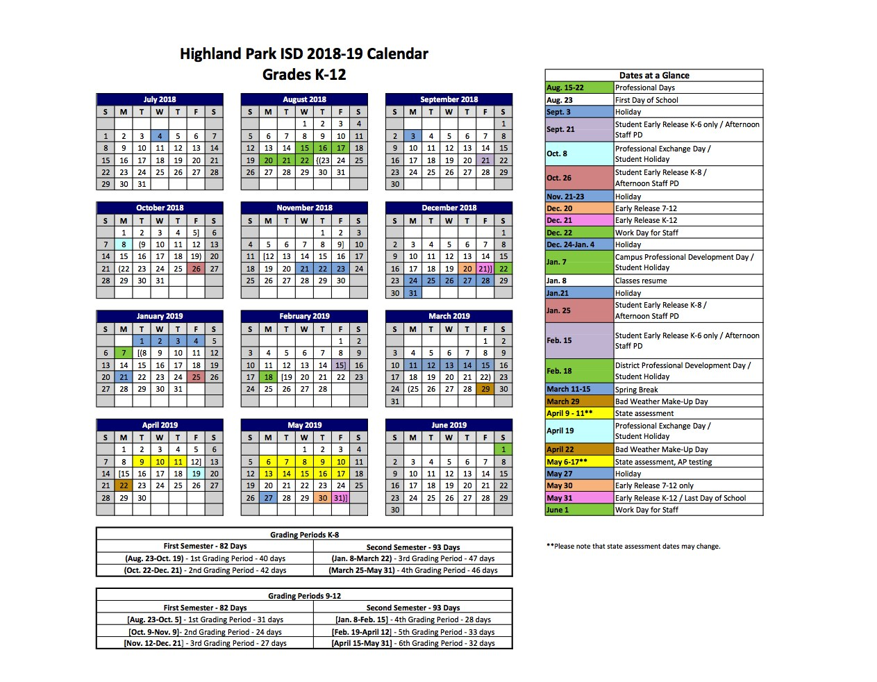 2018 2019 Hpisd Calendars Calendars Highland Park Independent