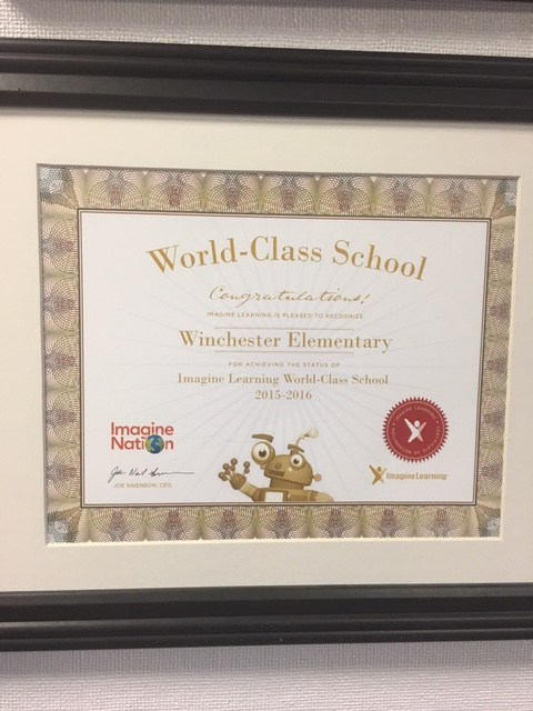 Imagine Learning certificate granted to Winchester
