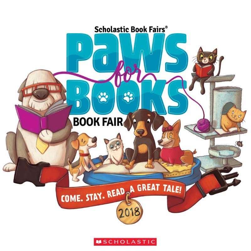 Spring Scholastic Book Fair-paws for books
