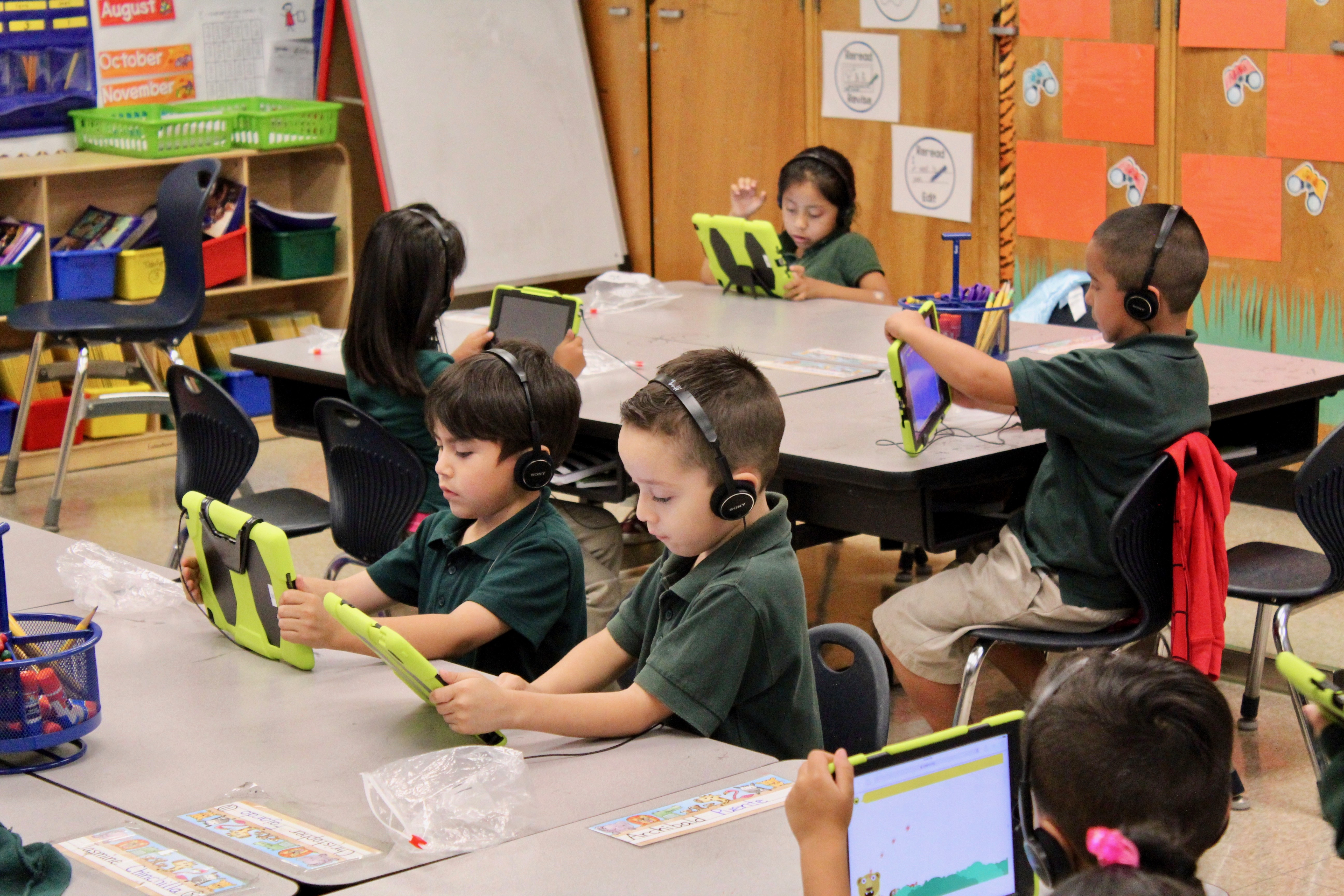 Students study using iPads