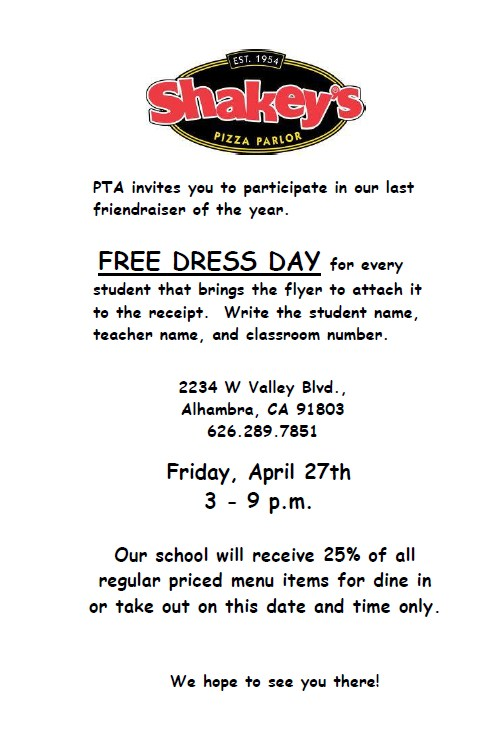 PTA's LAST FRIENDRAISER OF THE YEAR IS AT SHAKEY'S ON FRIDAY, APRIL 27, 3-9 PM! Thumbnail Image