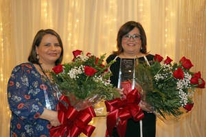 Julia Otken and Jennifer Rodriguez with the Teacher of the Year awards
