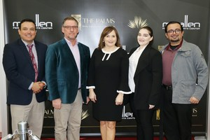 Pictured are Mr. Carlos Garcia (Fine Arts Director), Mr. James A. Hodgson (VMHS Theater Director), Ms. Cris Valdez (Interim Superintendent), Heather Sanchez (MHS Theater Director),                    and Mr. Adrian Guerrero (MHS Theater Director).