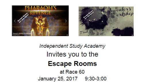 Escape Rooms Field Trip January 25, 2018