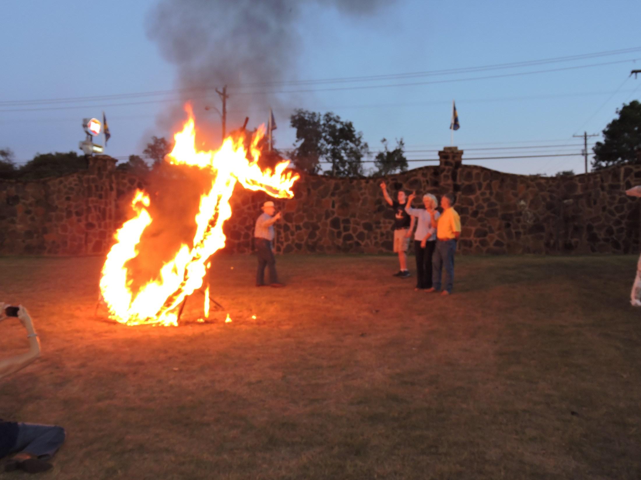 flaming J
