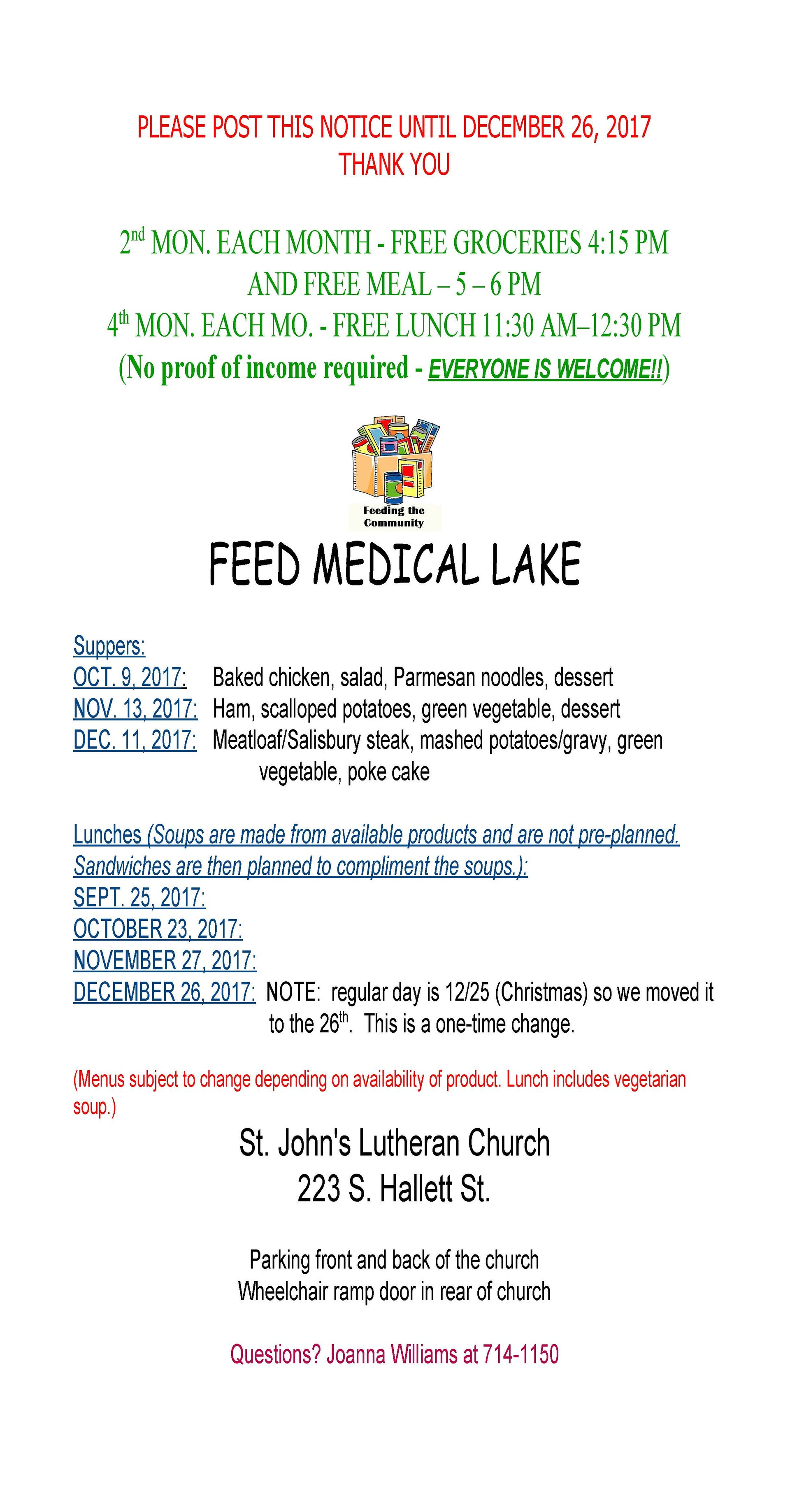 Feed Medical Lake Information October 2017 through December 2017