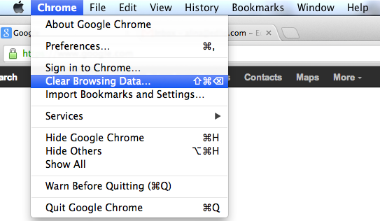 In Chrome menu select Clear Browsing Data