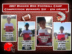 Award winners for the 1st - 6th grade competitions.  Competition winners received a custom-made Raiders hat with the Raiders spear on it.   Skills Challenge:  Kenneth Hoon Jr. --- (6th grade) --- Winnsboro  Fastest Combined 40-Yard Dash & 5-10-5 Shuttle: Skeet Brumley --- (6th grade) --- Winnsboro  Top Gun (Best Overall QB):  Ky Caddell --- (2nd grade) --- Sulphur Springs