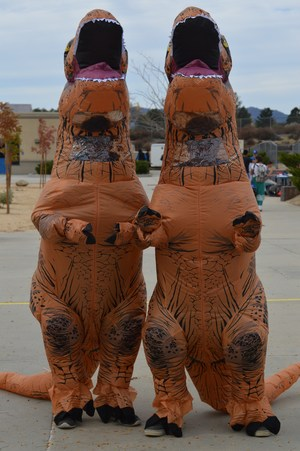 Students dressing up as T-rexs for twin day.