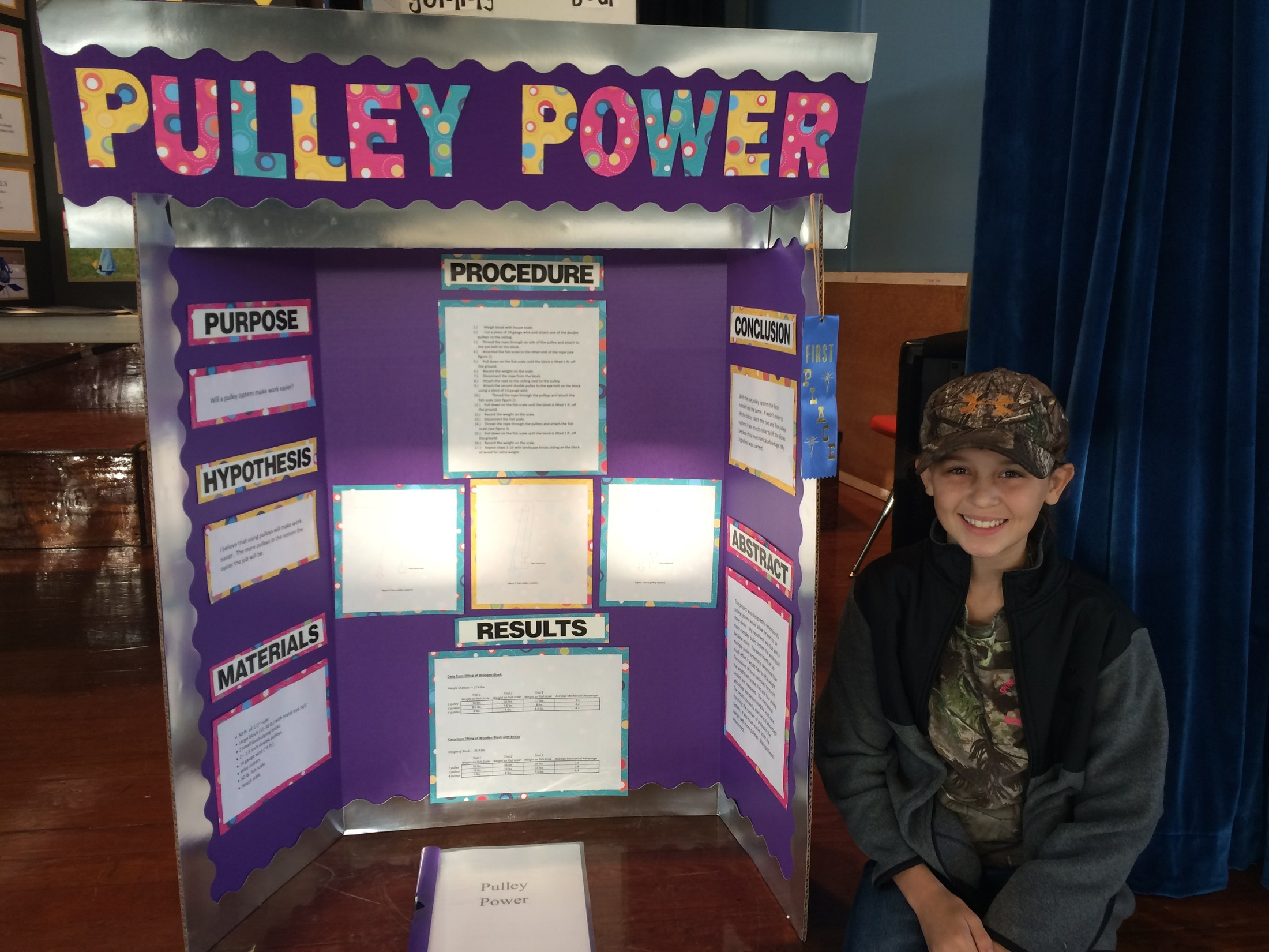 5th grader who placed 1st in Science Fair