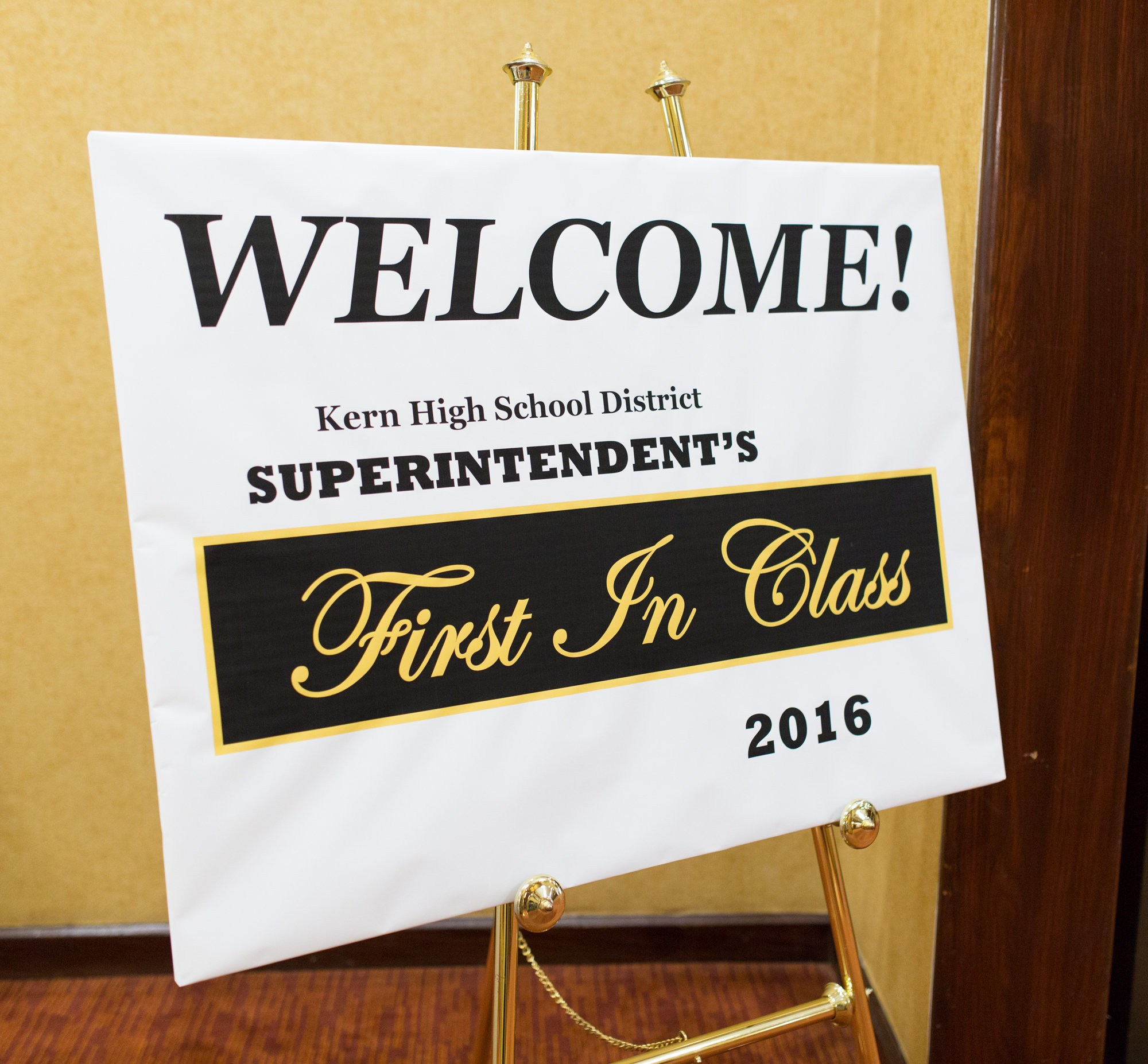 Welcome sign at First in Class Awards