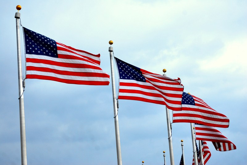 Photo of a row of American flags.