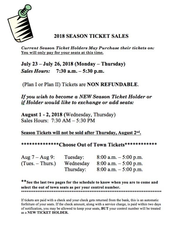 Season Ticket Sales
