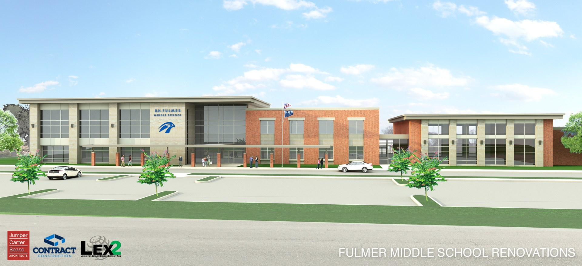 Architect's rendering of Fulmer Middle School front entrance.