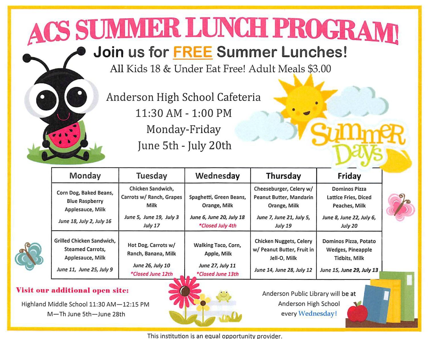 ACS Summer Lunch Program 2018 menu
