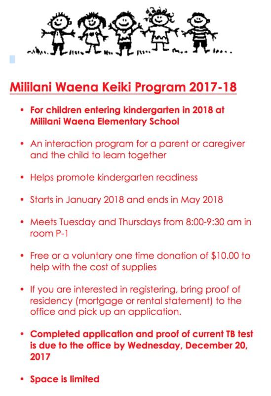 Keiki Program (For children entering kindergarten in 2018 at Mililani Waena) Thumbnail Image