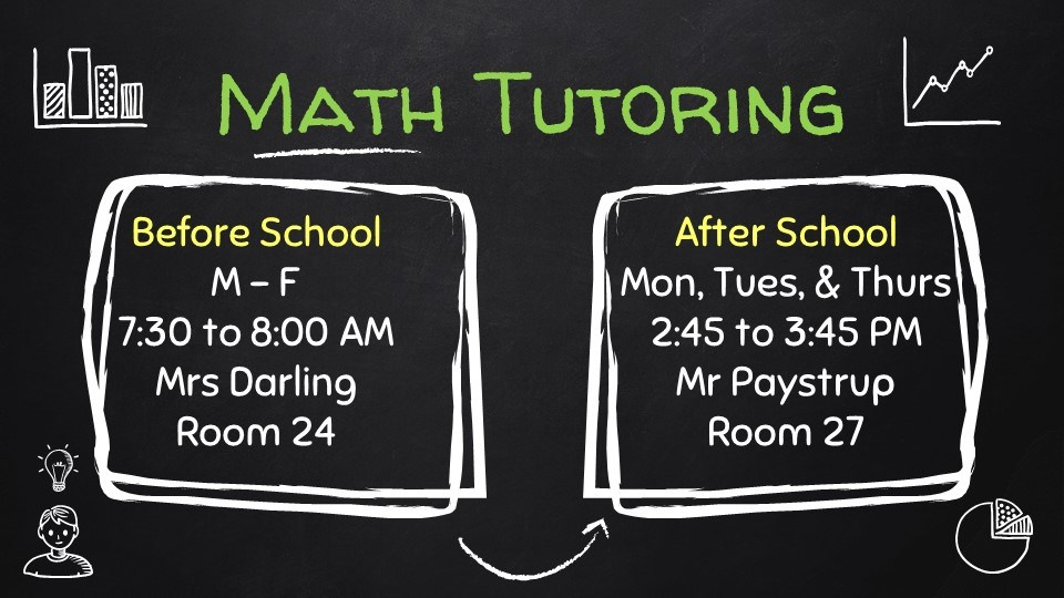 Math Tutoring is Monday through Friday from 7:30 to 8 and after school Monday, Tuesday, and Thursday from 2:45 to 3:45