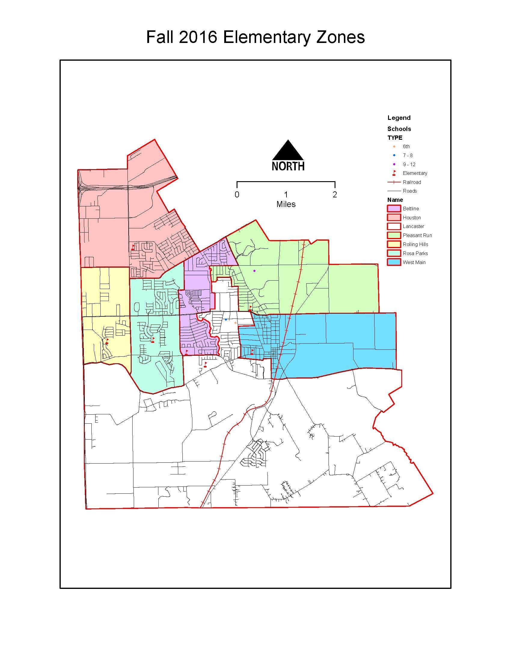 2016-2017 Lancaster ISD Attendance Zones map