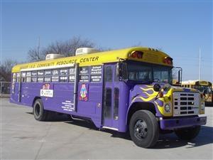 Sanger ISD Purple Bus