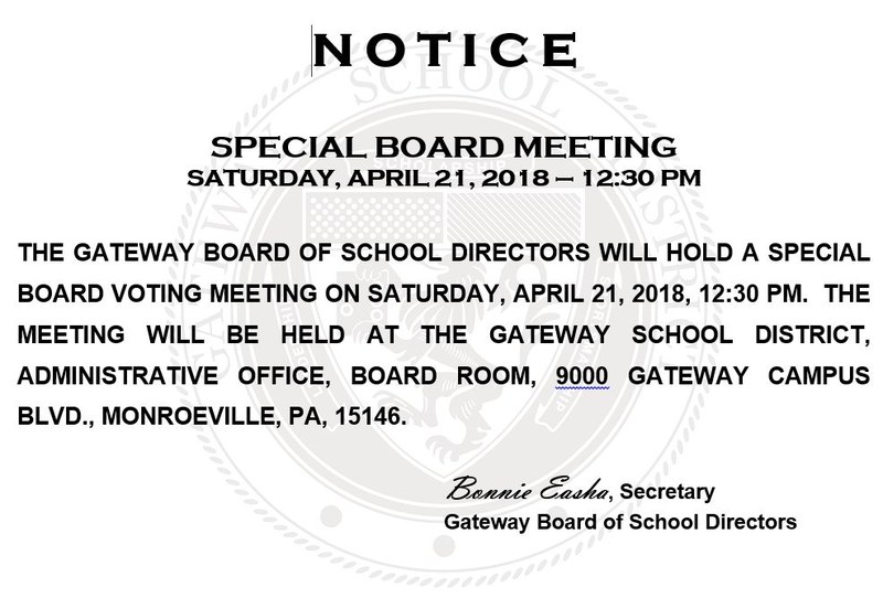 School board special meeting announcement