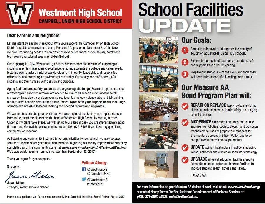 Westmont High School facility, safety, and technology upgrade mailer