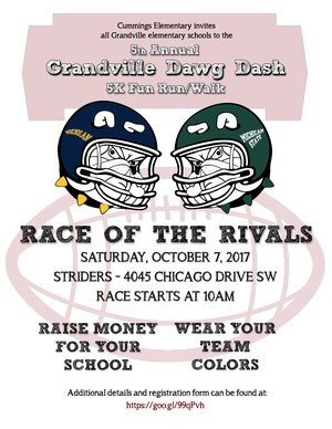 Flier with MSU and U-M helmets in background, inviting people to the 5K Dawg Dash to raise money for their school and wear favorite college colors