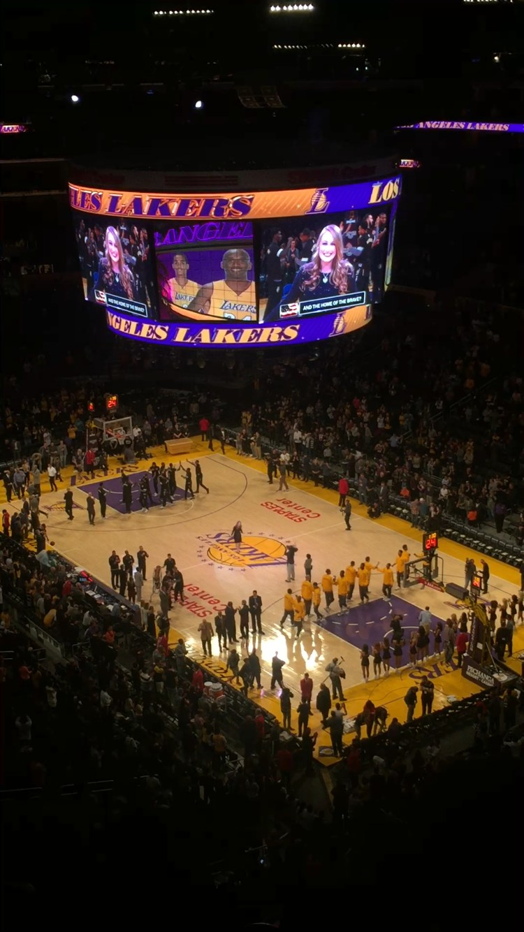 Julianne, singing the National Anthem at the Laker Game.