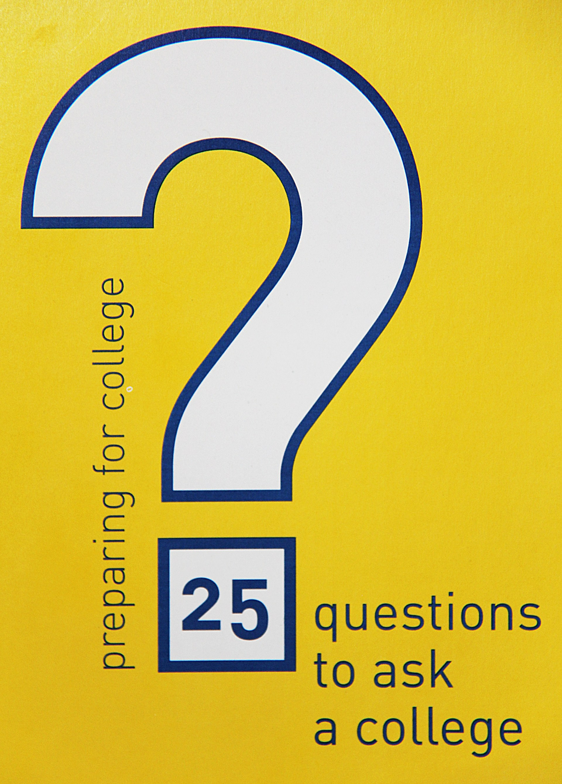 "Image of ""25 questions to ask a college"" brochure front"