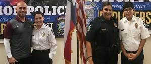 Pictured are Law Enforcement teacher, Bernie Acosta, Noevely Garza, MHS Police Explorers, Bea Barrientoz, Mission Police Officer, and Dominick Barrientoz, MHS Police Explorers.