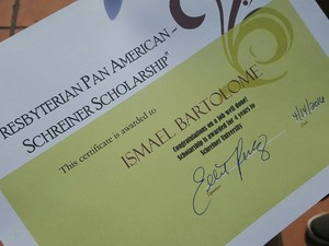 Ismael Bartolome - Schreiner Scholarship Certificate.jpg