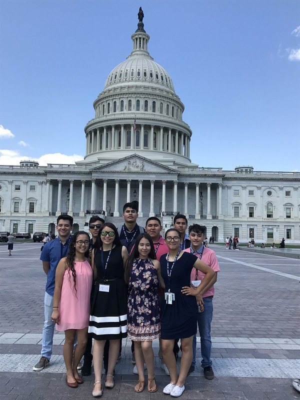 Students pictured standing in front of the Capitol Building in Washington, DC