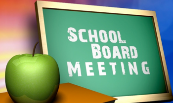 Chalkboard with school board meeting