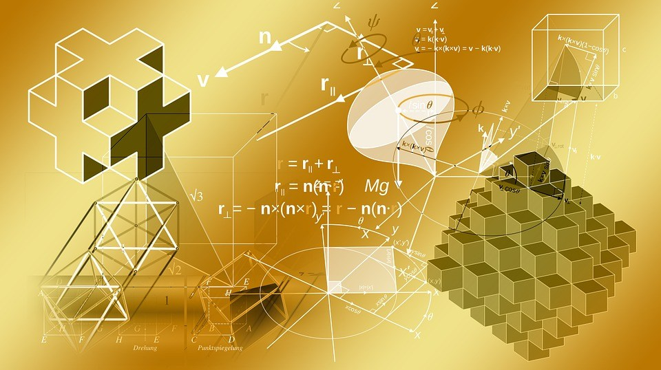 Yellow picture with mathematics symbols and equations
