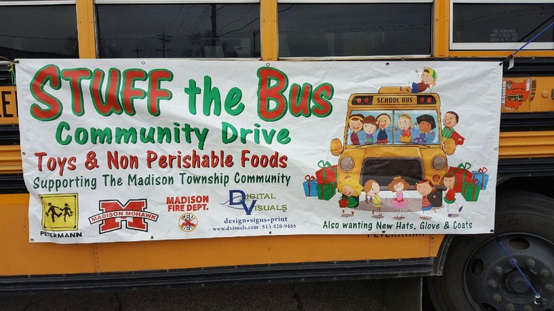 Stuff the bus sign on bus