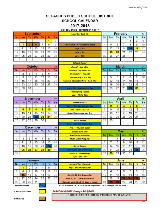 Revised School Calendar Thumbnail Image