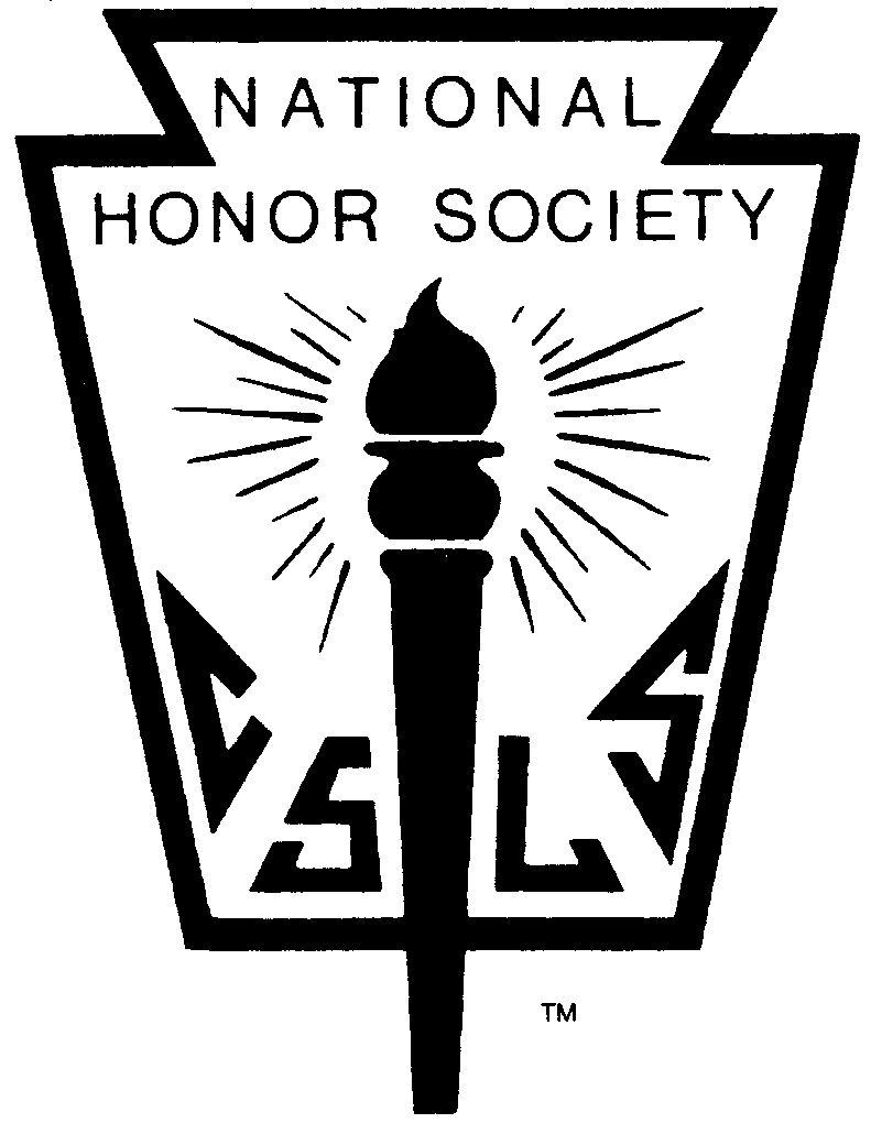 National Honor Society logo:  torch with letters representing Character, Service, Leadership, and Scholarship.