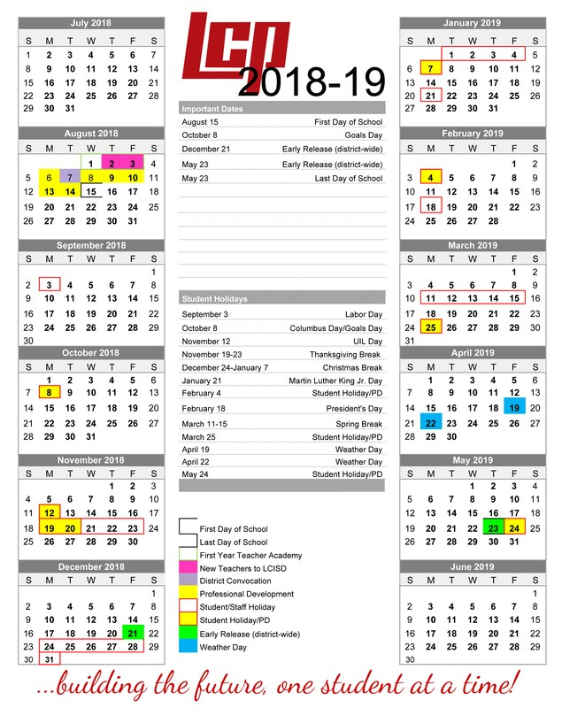 LCISD Board Approves 2018-19 District Calendar Thumbnail Image