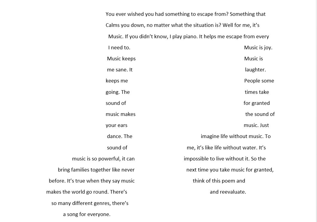 Concrete poem - musical note